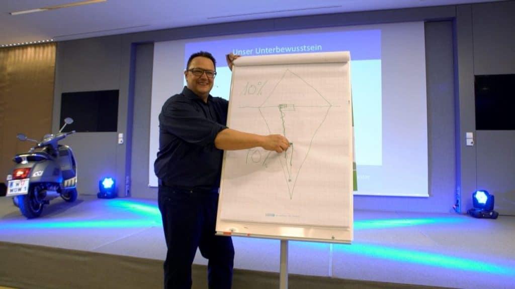 Hannes Katzenbeisser mit Flipchart und Eisbergmodell