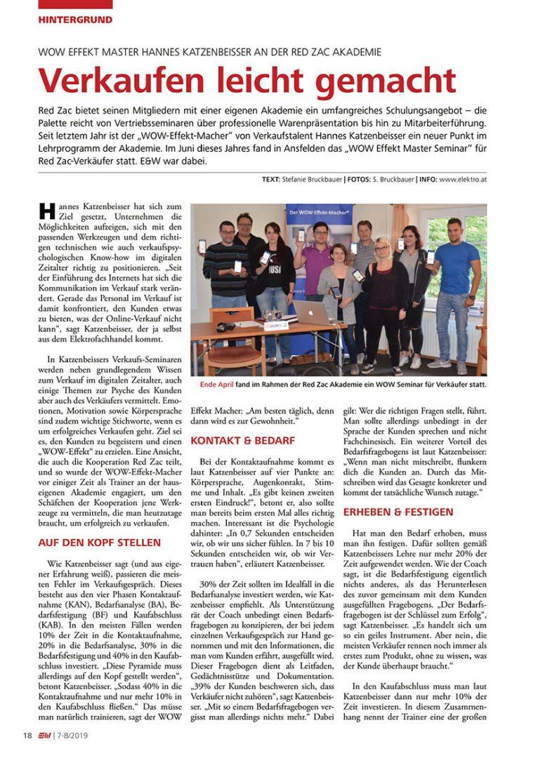 Presseartikel Elektro & Wirtschaft im Juli 2019